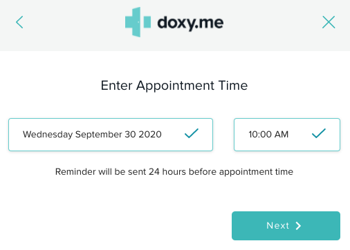 example of setting an appointment